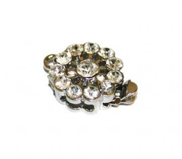 1pce x Rhodium plated clip clasp with rhinestone 13mm - S.F - WC161
